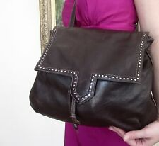 COUTURE CHARLES JOURDAN PURSE CHOC BROWN STUDS MOTO LEATHER NEIMAN MARCUS PARIS
