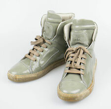 New. BRUNELLO CUCINELLI Green Patent Leather Lace-Up Sneakers Shoes 9/39 $995