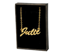 JULIE 18ct Gold Plating Necklace With Name - Pendant Engagement Anniversary Gift