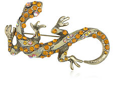 GB Topaz Diamante Rhinestone Lizard Animal Fashion Costume Jewelry Pin Brooch