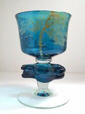 Vintage Mdina Chalice Large Goblet Blown Art Glass Signed Maltese Blue Yellow