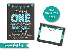 First Birthday It's The Big One Invitation - PRINTABLE Party Invite