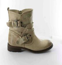 Guess Grier Ankle Beige Leather Boots Buckle Details Size 5.5
