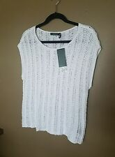 NWT=RALPH LAUREN pure white, sleeveless, thick knit top Large $98