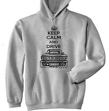 POLISH FIAT 125P KEEP CALM AND DRIVE 3P - GREY HOODIE - ALL SIZES IN STOCK