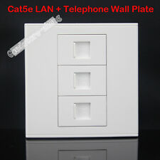 Wall Socket Plate  2 ports RJ45 Port  CAT5 + 1 RJ11 Port Panel Faceplate