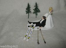 Wedding Winter Party ~Snow Skies~ Cake Topper Bride Dragging Groom to Alter