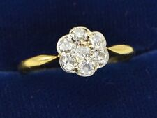 Antique 18ct YELLOW GOLD & Diamond 7-Stone Flower Cluster Engagement RING - Sz M
