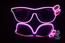 HELLO KITTY Neon LED PINK Rave White Frames PINK Bow Halloween Costume Glasses!