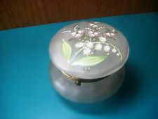 ANTIQUE FRENCH FROSTED GLASS POWDER JAR dresser box hand painted vintage trinket