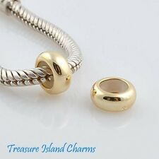 VERMEIL GOLD OVER .925 Sterling Silver EUROPEAN RUBBER STOPPER Spacer Bead Charm