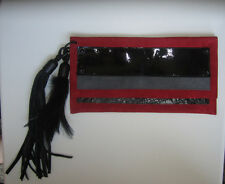 GORGEOUS $400 DAVID GALAN BARNEY'S RED LEATHER SUEDE CLUCTH w FEATHER & FRINGE