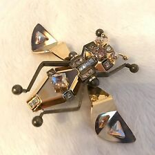 NIB LANVIN Gold Tone INSECT FLY Swarovski Crystal Pin, Brooch, Necklace, RARE!!