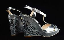 $1395 Christian Louboutin Cotton Club Silver Mirrored Wedge 120 MM Heels 37 1/2