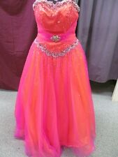 Size 2 Partytime Pink/Orange Beaded Long Formal Bridesmaid Prom Dress G-2-A