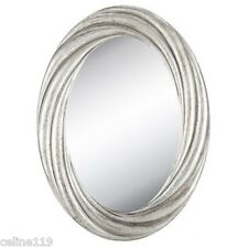 "Large 30"" Distressed Silver Twisted Oval Mirror Shabby Chic Home Wall Decor New."