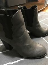 BETSY JOHNSON, Gray - Taupe Ankle Boots Size  9, Worn Once EUC