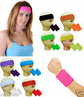 Gym Exercise Sports Neon Sweat Headband Wristbands 80's Fancy Dress Accessories