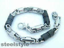 MEN'S CHUNKY LINK CHAIN BYZANTINE STAINLESS STEEL BRACELET BLACK/SILVER B1