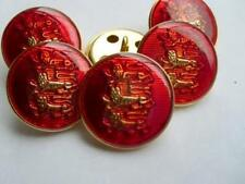3pcs RARE ENGLAND THREE LIONS RED&GOLD BLAZER METAL ITALIAN BUTTONS 20m