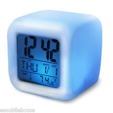 Color Change Glowing LED Alarm Clock Time Data Week Temperature Display