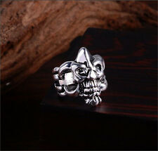 Men's 316L Stainless Steel Silver Fashion Gothic Skull Male Finger Ring Size-10