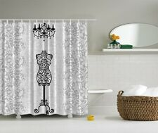 Vintage Black Dress Form Shower Curtain Glamour Chandelier Bath Decor