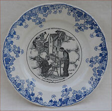 "French C Genty Badonviller Transferware Porcelain Humour Plate ""Holidays"" 1920"