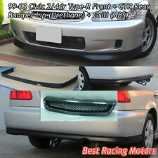 TR Style Front Lip (PU) + CTR Rear Lip (PU) + Grill (ABS) Fits 99-00 Civic 2dr