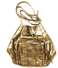 Bronze Metallic Drawstring Bucket Cross Body Shoulder Handbag New
