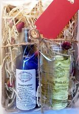 All Natural & Organic Rose Gift Set with Rosewater, Rose Bath Oil & Rosebuds