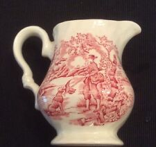 Vintage Red Transferware Creamer The Hunter Myotte England Impression Error