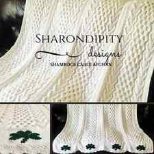 Hearts & Shamrocks Cable Afghan PDF Knitting Pattern