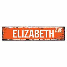 SWNA0005 ELIZABETH AVE Street Chic Sign Home Store Shop Wall Decor Birthday Gift