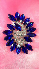 XR349 Blue Marquise Swirl Crystal Rhinestone Applique 2.5""