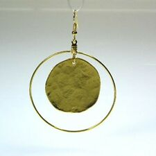 Kenneth Jay Lane Satin Gold Hammered Coin Hoop Pierced Earrings
