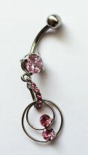 PINK WITH CIRCLE CHARMS RHINESTONE CRYSTAL GEM NAVEL BELLY BAR - BB11