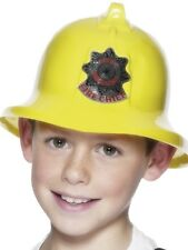 Childs Kids Fireman Yellow Plastic Helmet Fancy Dress Accessory P8852
