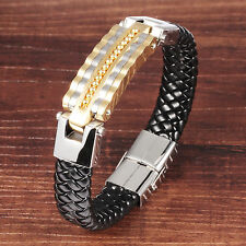 Genuine leather Gold Stainless Steel Fashion Cool Bracelet Men's Holiday Gifts