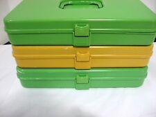 Vintage Wilson Wil-Hold Gold/Green Sewing Box Thread Bobbin Organizer Storage