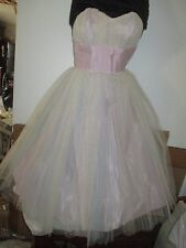1950'S LAVENDER AND BLUE STRAPLESS PROM GOWN SIZE 4/5