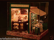 Wooden Dollhouse Miniatures DIY Bar House Kit w/Led Light Star Coffee Shop Cafe