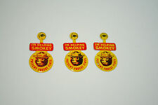 Set of 3 Helping Smokey The Bear Prevents Fires Tin Litho Button Pin 1960s NOS