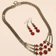 RED CORAL STONE TURKISH 925 STERLING SILVER PLATED NECKLACE  JEWELLERY