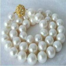 Natural 9-10mm white akoya pearl necklace 18inch x-03
