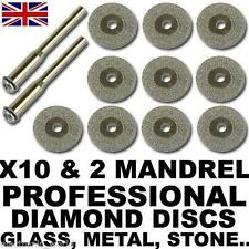 10 x Diamond Cutting Discs For Rotary Tool, Dremel, Bosch, Stone, Glass, Metal