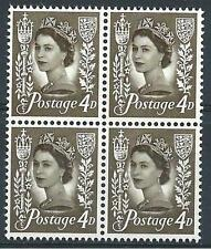 Jersey 1968 Sc# 4 Royal mace & arms 4p olive Queen Elizabeth GB block 4 MNH