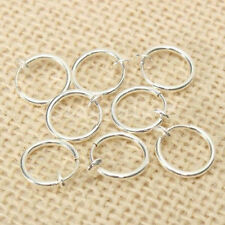 8PCS Punk Clip On Fake Nose Lip Hoop Rings Earrings Silver Body Piercing Jewelry