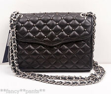 NWT REBECCA MINKOFF Quilted MINI AFFAIR Studs Clutch Chain Crossbody Bag BLACK