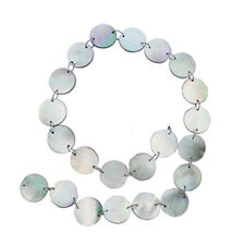 "BLACK MOTHER OF PEARL 16MM FLAT ROUND BEADS 16"" ST  mop"